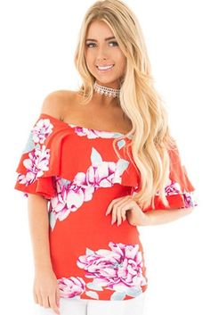 cb62b68418ed3 Womens Red Ruffle Floral Off The Shoulder Top