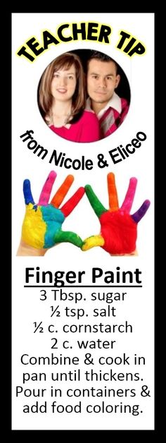 This was probably made to be serious, but their photo reminds me of a Saturday Night Live Skit :-) Make your own non-toxic finger paint!