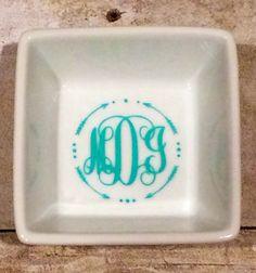Personalized Ceramic Ring Dish by HappyGoLuckyStudios on Etsy