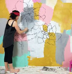 alisaburke: painting a statement wall: tips and tr - Murales Pared Exterior Mural Floral, Flower Mural, Flower Wall, Floral Prints, Mural Painting, Mural Art, Wall Art, Painted Wall Murals, Hand Painted Walls