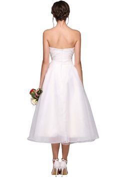 ANGVNS Womens ALine Sweetheart TeaLength Tulle Bridesmaid Dress Cocktail Evening Gown with Ruffle Size 8 White -- Click the photo for added details. (This is an affiliate link). #bridesmaiddresses
