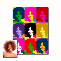 Created from a photo sent by you, this custom portrait uses vibrant and contrasting colors in the style of the great pop artist Andy Warhol such as his portraits of Che Guevara and John Lennon. A pop art portrait transforms your own image into a unique work of art. The result is a personalized artwork that will last for many years. – DESCRIPTION This listing is for 9 digital custom pop art portraits of 1 person using the same picture. The picture is only an example, you will receive YOUR…