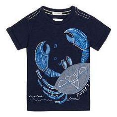 Boys' navy crab placement t-shirt