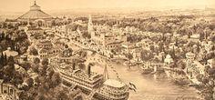 """Ansichtskarte von der """"Österreichischen Adria Ausstellung"""" des Jahres 1913 in Wien, im Hintergrund die Rotunde. Paris Skyline, Travel, Cards, Viajes, Destinations, Traveling, Trips"""
