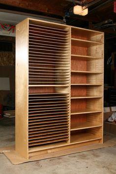 Art Storage Cabinet. This is amazing and so beautifully made #artstorage wooden shelving for art storage #shelving scaffale di legno per archiviare pezzi d'arte e quadri