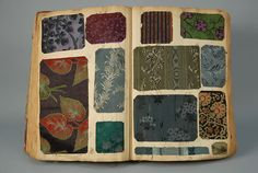 1890-1900 Book ASSORTED DRESS SILK SAMPLE BOOK,  approximately 18 x 12 inches with numerous samples per page, approximately 350 pages. Mostly plaids and stripes, some jacquards. Samples good, book fair, pages fragile.