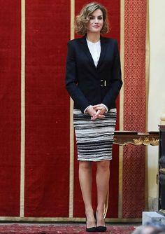 Queen Letizia of Spain attends the Delivery of the 'Justice and Disability Forum' awards at Real Academia de Bellas Artes de San Fernando