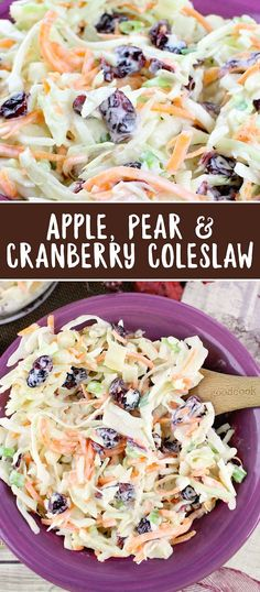 Apple Pear and Cranberry Coleslaw Recipe