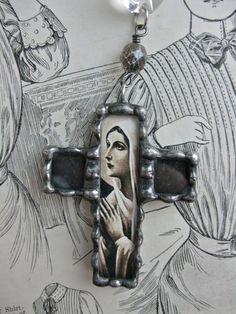silver soldered cross with vintage image of Mary...etsy..rochellemybelle