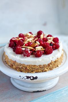 Delicious vegan cake with coconut cream, lime and raspberries