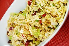 Check out this fresh and easy Oriental Cabbage and Cranberry Salad Recipe!    Ingredients :   10 oz package shredded cabbage  4 scallions, sliced  1 tablespoon sesame oil  ¼ cup reduced sodium soy sauce  1 tbsp rice vinegar