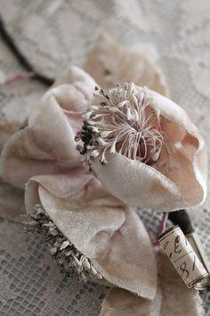single branch of antique velvet flowers ...