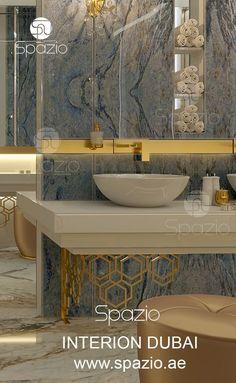 Innenarchitektur des Badezimmers in Dubai - spazio interior architecture Luxury Homes Interior, Luxury Decor, Home Interior Design, Interior Decorating, Interior Architecture, Sink Design, Toilet Design, Estilo Interior, Bathroom Wall Decor