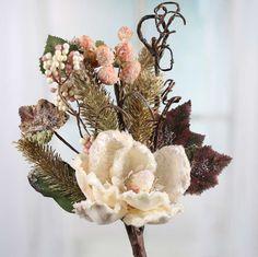 Ivory Velvet Artificial Magnolia and Pine Spray