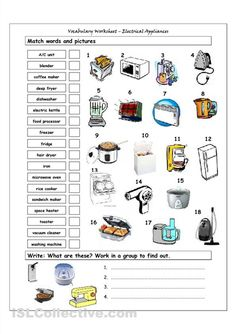 how to use appliances esl worksheet