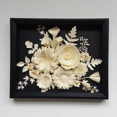Flower Wall Art Handcrafted Black-White Floral Arrangements in Metallic Silver Background Wood Box Frame Home Office Wall Nursery Decor White Paper Flowers, Paper Flowers Craft, Sola Wood Flowers, Paper Flower Wall, Flower Crafts, Flower Frame, Flower Art, White Floral Arrangements, Painted Pinecones