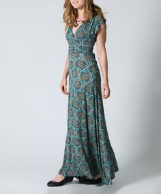 Another great find on #zulily! Teal Paisley V-Neck Maxi Dress #zulilyfinds