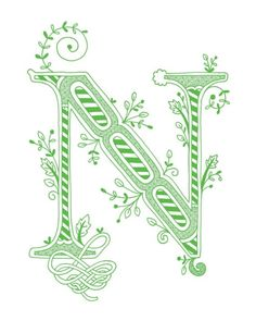 Hand drawn monogrammed print, 8x10, the Letter N, in the color green
