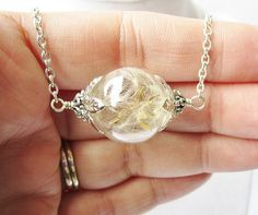 Romantic Dandelion Seed Filled Glass Orb Necklace, Spring Wedding, Bridesmaid Jewelry by ViperCoraraDesigns