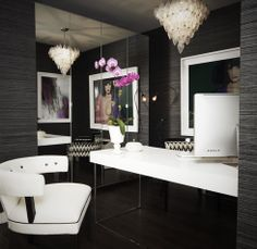 Dark and moody office.  Designer: Jordan Carlyle... this is the total inspiration of my room !! so excited to start :)