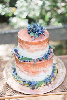 copper painted wedding cake - photo by Olivia Richards Photography http://ruffledblog.com/natural-woodsy-and-copper-wedding-inspiration #weddingcake #cakes