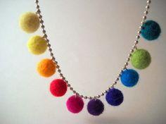 Felt ball necklace on ball chain.