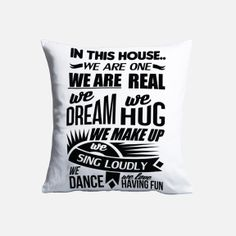 Superbalist - In this House Cushion Cover We Make Up, Decorative Accessories, Art Pieces, Cushions, Throw Pillows, Black And White, Cover, House, Toss Pillows