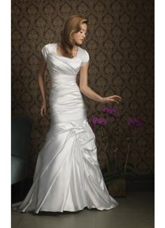 Nice Mermaid Satin Court Train Straps Short Sleeve Wedding Dresses - Wedding Dresses