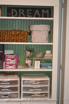 31 Days The Craft Room Shelves for storing lots of supplies #athomewiththebarkers