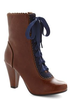 Flair-y Tale Boot in Cognac by Chelsea Crew - Mid, Faux Leather, Brown, Blue, Solid, Vintage Inspired, French / Victorian, Steampunk, Lace U...
