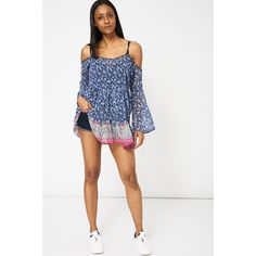 Abstract Blue & Pink Printed Cold Shoulder Chiffon Top