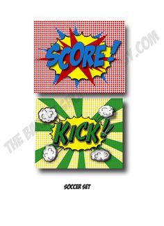 11x14 Soccer prints KICK and  SCORE in comic pop art style by TheBarberShoppe, $53.00  Superhero theme kids room