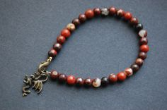 Dragon Bracelet with Brecciated Jasper. Pagan, Witch, Familiar, Power Animal, Totem, Merlin, Brigid, Arthur Pendragon, Wales,Welsh.