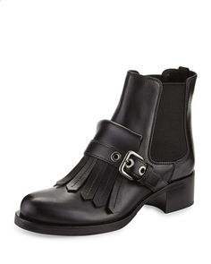 S17RQ Prada Leather Kiltie Chelsea Boot, Black