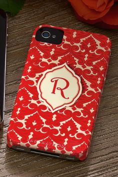 Red Monogrammed Iphone Case - Sophisticated Iphone Case, Protect Your Iphone, Crack Iphone Screen, Damask Iphone Case | Soft Surroundings