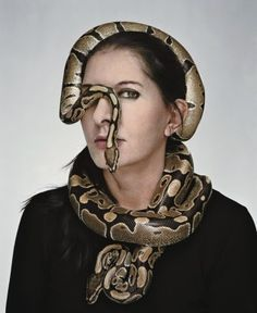 """This picture accompagnied an article about Marina """"Spirit Cooking"""" Abramovic in The New Yorker. A serpent hiding one eye: The perfect way to represent being a pawn of the occult elite. Performance Arte, Eye Of Horus Illuminati, Martin Schoeller, John Podesta, Marina Abramovic, Blurred Lines, Mainstream Media, The New Yorker, Art History"""