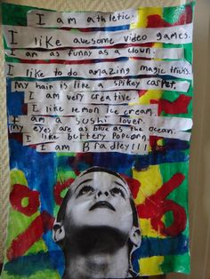 """I am"" statements for beginning of year - adding pic of student looking up at the statements is very creative."