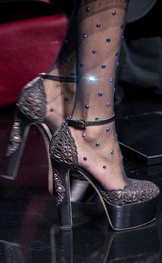 Elie Saab at Paris Fashion Week Fall 2017 - Details Runway Photos Sock Shoes, Shoe Boots, Shoes Heels, Shoe Bag, Crazy Shoes, Me Too Shoes, Runway Shoes, Beautiful Heels, Luxury Shoes