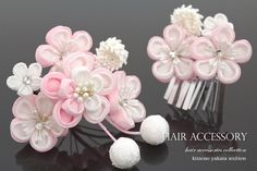 Thumb crafted two points set Shichi petal flower bijoux crepe silk cherry petals kanzashi sleeping patching pinned hair ornament hair pinned hair accessories Sakura Cherry Blossom, Hair Ornaments, Flower Crafts, Hair Pins, Bobby Pins, Projects To Try, Hair Accessories, Bows, Hair Bow