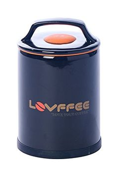 LOVFFEE Black Ceramic Premium Coffee Canister with Coffee Scoop Holds 1 Pound Whole Coffee Beans or Ground Coffee in Patented Airtight Vacuum Sealed Coffee Storage Container >>> ON SALE Check it Out