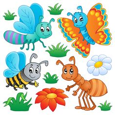 Colorful Cartoon Insects Vector Set - http://www.dawnbrushes.com/colorful-cartoon-insects-vector-set/