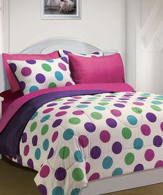 Take a look at this Pink Polka Dot Back to School Comforter Set on zulily today!