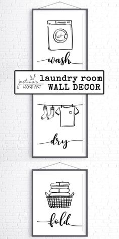 Minimalistic black and white line art graphics for the utility room wall decor. New Mommy Gifts, Organized Mom, Black And White Lines, Room Wall Decor, Black Walls, Word Art, Printable Wall Art, Laundry Room, Poster Prints
