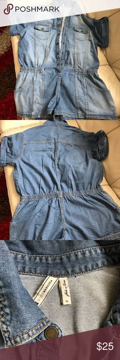 BCBG Jean Romper Washed jean shorts romper. Excellent for a fun day out! Great condition, no stains, no damages. BCBG Other