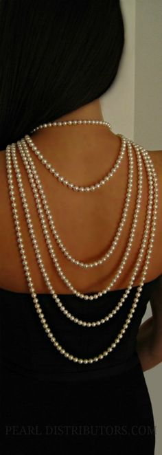 Pearls down the back, just like Audrey Hepburn!