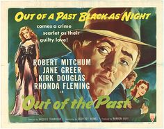 Actors Robert Mitchum and Jane Greer appear on a poster for the RKO Radio Pictures movie 'Out of the Past' (aka 'Build My Gallows High'), directed by Jacques Tourneur, Jane Greer, Rhonda Fleming, Kirk Douglas, Best Horror Movies, In And Out Movie, Best Horrors, Vintage Horror, About Time Movie, Love Movie