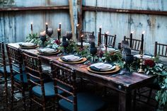 Behold, the modern way to do a wedding tablescape. Start with a polished wood table (go with a dark cherry stain for optimal moodiness), add a loose greenery runner, and finish with taper candles for ambiance. Skip the table linens and focus on interesting details that showcase your style, such as black wine goblets and gold charger plates. - gothic + Halloween wedding inspiration Boho Wedding Decorations, Reception Decorations, Wedding Centerpieces, Wedding Table, Brunch Wedding, Wedding Receptions, Reception Ideas, Burgundy Wedding Colors, Pastel Colour Palette