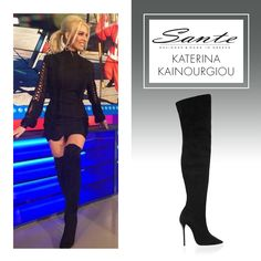 Katerina Kainourgiou in SANTE Over-the-knee Boots #BuyWearEnjoy #CelebritiesinSante Available in stores & online: www.santeshoes.com