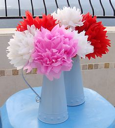 Mexican Crepe Paper Flowers In Vases