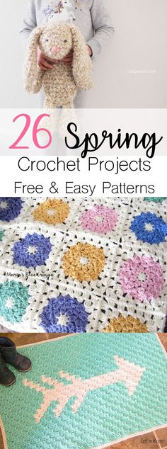 Crochet Spring Patterns | Free Easy Crochet patterns | Crochet Bunny Easter | Crochet Home Decor | Crochet Afghan Blanket | Crochet Flower Blanket | Homespun Yarn | Caron Simply Soft